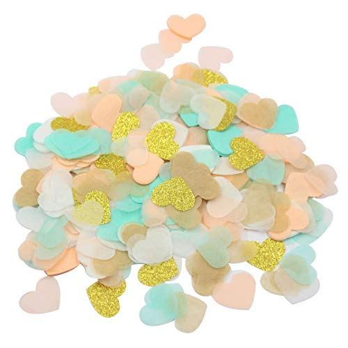 Mybbshower Peach Mint & Gold Tissue Paper Confetti 1