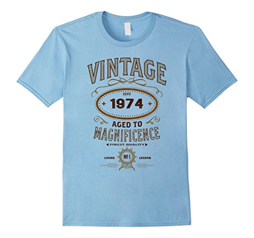 Mens Vintage Aged To Magnificence 1974 43rd Birthday Gift T-shirt Medium Baby Blue