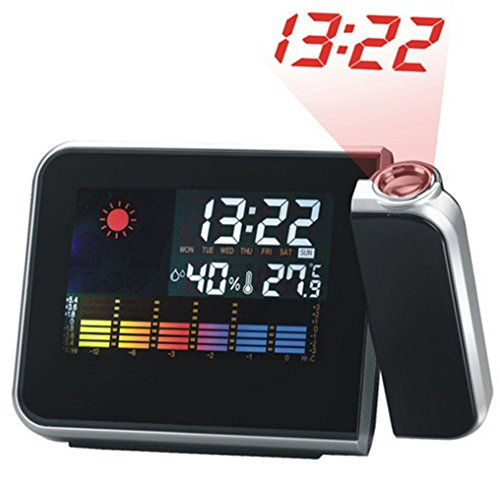 1 pcs Digital Weather LCD Projection Snooze Alarm Clock with Colorful LED Backlight