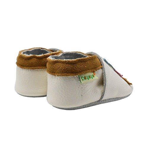 Sayoyo Baby Eule Lauflernschuhe Leder Weiche Sohle Baby Mädchen Baby Jungen Kugelsicherer Krippe Enfants Schuhe Weiß Weiß
