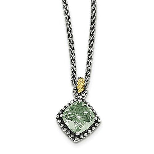 Argent Sterling avec améthyste coussin verte JewelryWeb Pendentif jaune 14 carats