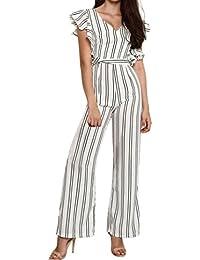 a87b922b3d0e Womens Jumpsuits Elegant Ruffled Striped Long Pants Jumpsuits Romper