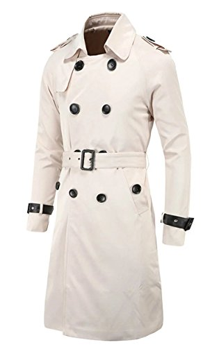 White Lightweight Belted Jacket - Cameinic Men's Slim Double Breasted Belted Long Trench Coat Jacket Off-White