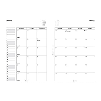 Filofax 2017 A5 Month to View English Refill, 8.25 x 5.75 inches (C68510-17)