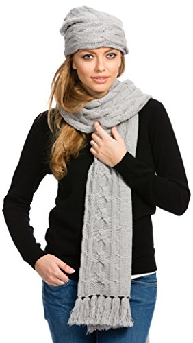 Winter Scarf - Cable Knit - by Citizen Cashmere (Grey) 43 502WC-05-09 (Scarf Knit Cashmere Cable)