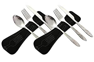 Camping Cutlery Utensils Set of Military Grade Stainless Steel Fork, Spoon and Knife (2pack-Black)