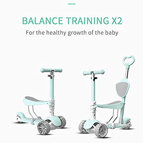 730175bd1c2 5 In 1 Kids Kick Scooter, 3 Wheels Walker with Removable Seat and Back  Rest, 4 Adjustable Height, Light Up Wheels for Toddlers 1-8 Years Old  Support 50 kg
