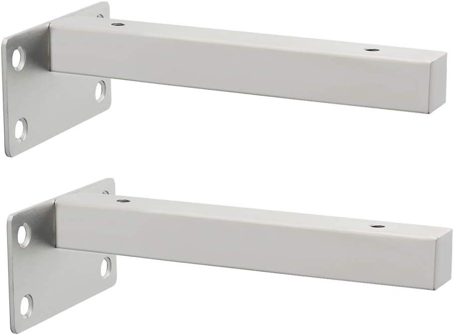 Sayayo EJT150LS-2P Soporte de estante flotante invisible para estantes de madera ocultos montados en la pared EJT150LS-2P acabado cepillado de acero inoxidable 2 piezas