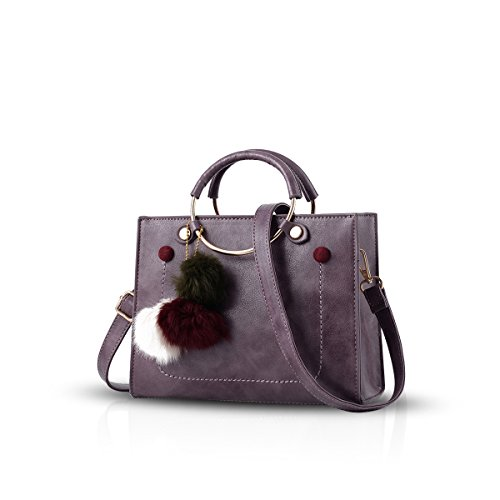 NICOLE&DORIS Moda Clásico Crossbody Bolso Mujer Mensajero Bolsa de Hombro PU Púrpura Púrpura