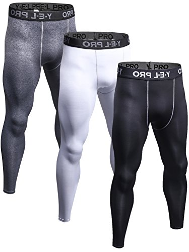 Yuerlian Men's Compression Cool Dry BaseLayer Pants Wear Under Leggings Sports Tight 3 Pack