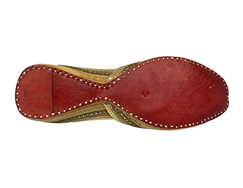 Style n Step &-Scarpe in pelle Khussa Punjabi Jutti ShalinIndia-Sandali a infradito da donna