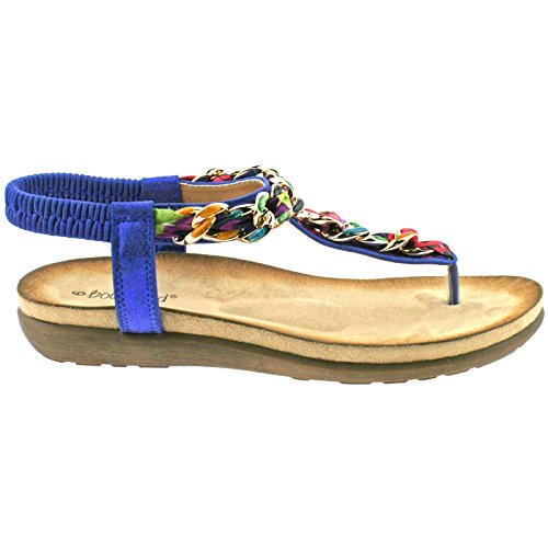 LADIES BOULEVARD METALLIC BLUE MULTI ELASTICATED TOE POST SANDALS L9528C KD-UK 9 (EU 42)