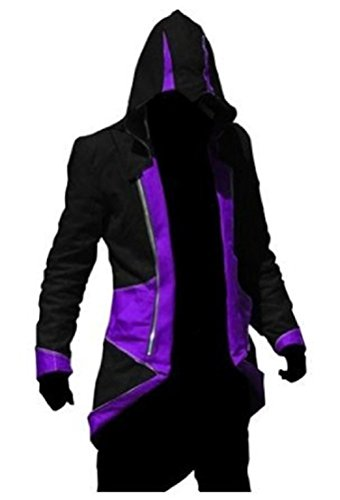 BuyChic Cosplay Costume Hoodie/Jacket/Coat-9 Options for The Fans,Black with Purple,Men Medium