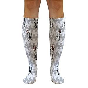 Funny Knee High Socks Clumber Spaniel Dog Gray Zigzag Tube Women & Men 1 Size 25