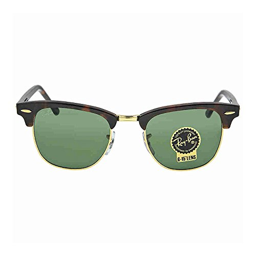 Ray-Ban CLUBMASTER - MOCK TORTOISE/ ARISTA Frame CRYSTAL GREEN Lenses 49mm Non-Polarized