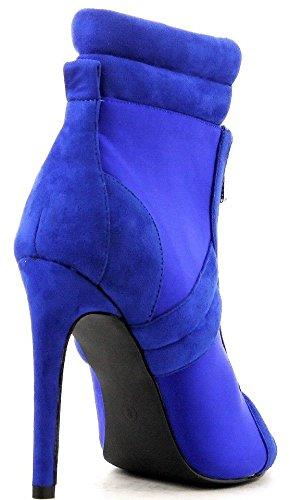 Cr June-32 Cheville Haute Ouverte Orteils Stiletto Talon Fermeture À Glissière Bottes Avant Bottines Bleu Bleu