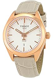 Tissot PR 100 White Dial SS Leather Quartz Ladies Watch T1012103603100