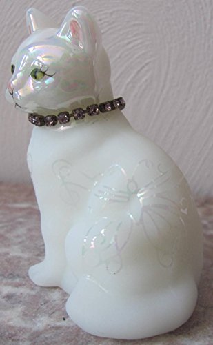 Fenton Birthstone Sitting Cat - Pink Zirconia Collar - Sand Carved - Rosso OOAK - One of a Kind !