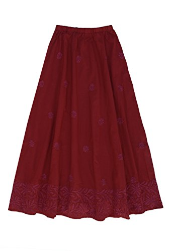 Cotton Embroidered Skirt: Mauve Border on Red: 1X