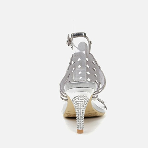 Floraux Pantoufles Soirée Habillées Été Chaussures De Des De Paillettes De Argent Doris De Sandales Mariage Strass Talons Mode Femmes vwrfvq