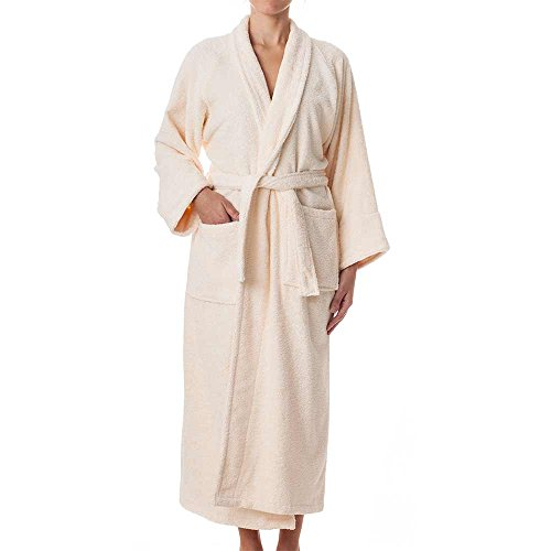 Belted Terry Belt - Unisex Terry Cloth Robe - 100% Long Staple Cotton Hotel/Spa Robes - Classic Robes For Men or Women,Ivory,Large