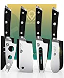 DALSTRONG Charcuterie & Cheese Knife Set - 4-Piece - Gladiator Series - Mini Cleaver, Serrated Knife, Round-Tip, Forked Cheese Knife - HC German Steel - G10 Garolite Handle - w/Sheath - NSF Certified