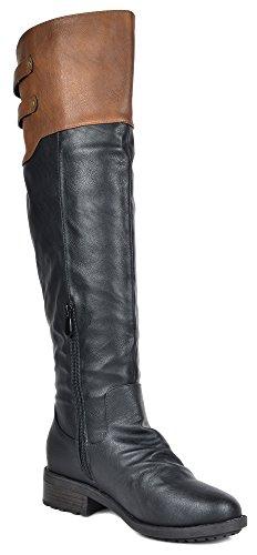 Droomparen Damesspringende En Hoge Rijlaarzen (breed Kalf Verkrijgbaar) Supra-zwarte Kameel