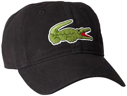 Lacoste Men's Classic Large Croc Gabardine Cap, Black, One (Lacoste Crocodile Logo)