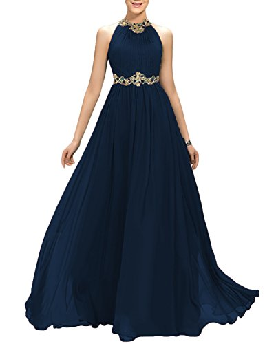 (2019 Prom Dresses Plus Size Empire Waist Party Dress for Women Long Halter Homecoming Manual Beaded Noble Ruffled Maxi Female Costume EV147 Navy Blue Size 24W)