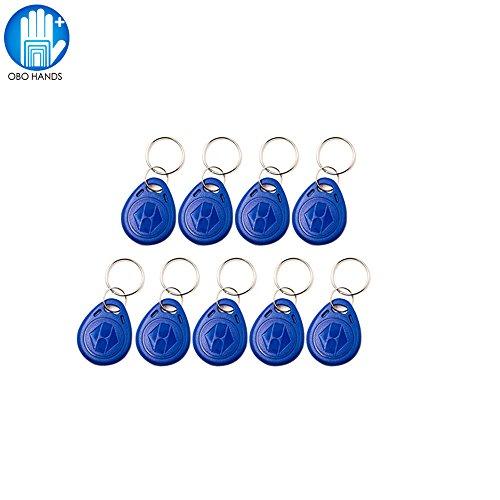 OBO Hands 125KHz Rewritable RFID Keychain Keyfobs T5577 Key token Tag for Access Control User Card Blue(100)