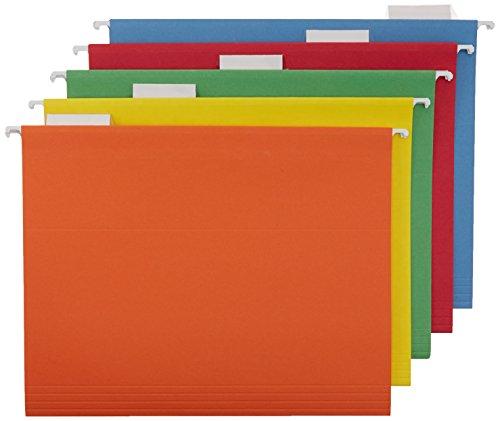 AmazonBasics Carpetas de archivos colgantes - Tamaño carta (paquete de 25) - Colores surtidos
