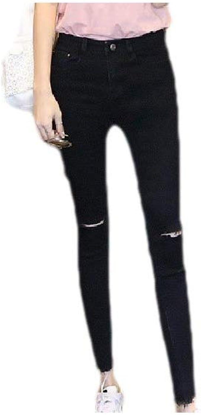YAXINHE 女性純粋な色の帝国のウエストホールポケット快適なジーンズパンツで伸縮