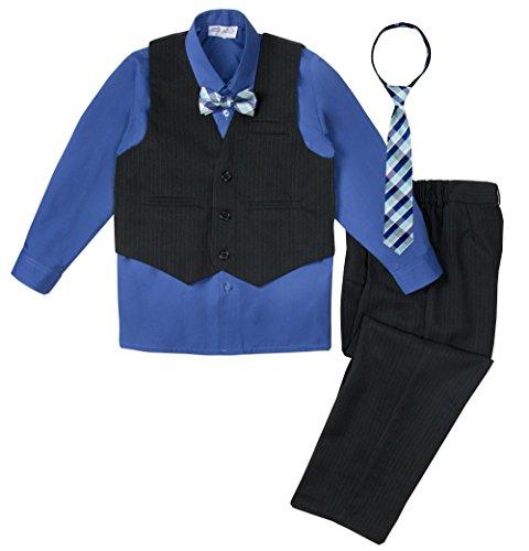 Spring Notion Big Boys' 5 Piece Pinstripe Vest Set Black-Royal Blue-B 10 Royal Blue Five Stripe