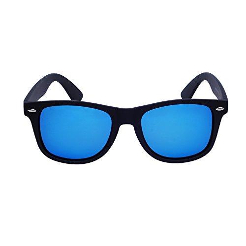 Retro de Wayfarer Polarizadas sol QIXU UV400 y Espejo Vintage Gafas Gafas Cuero y Mujeres de Estuche Azul Hombre Bw4qvUfx