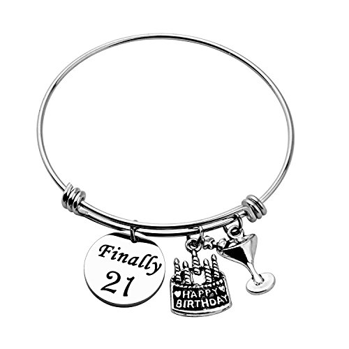Birthday Gift for Her Adjustable Birthday Bracelet Bangle with Birthday Cake Charm,12th Sweet 16th 18th 21st 30th 39th 40th Bangle gift,Anniversary Gift (21st Birthday)