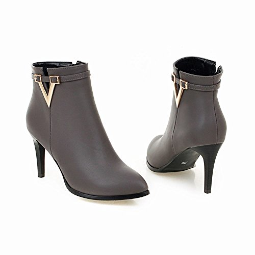 Dress toe Latasa Boots Heel Ankle Grey Womens Pointed High PRqSEYwq