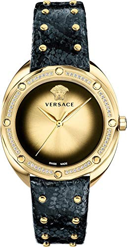 Versace Women's SHADOV Quartz Watch with Snakeskin Strap, Black, 19 (Model: VEBM01118)