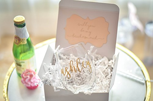Will You be my Bridesmaid Proposal Gift Box Personalized Wine Glass