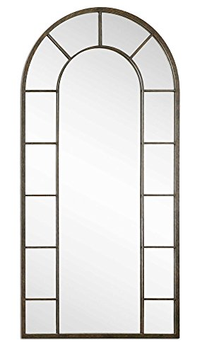Intelligent Design Full Length Black Arch Window Pane Mirror | Wall Floor Mirror (Unusual Mirror Frames)