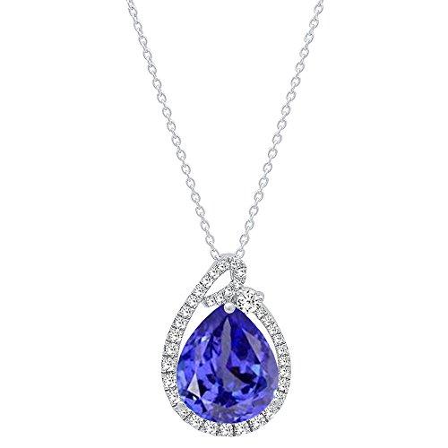 Dazzlingrock Collection 10K 12X10 MM Pear Tanzanite & Round Diamond Ladies Circle Pendant, White Gold ()