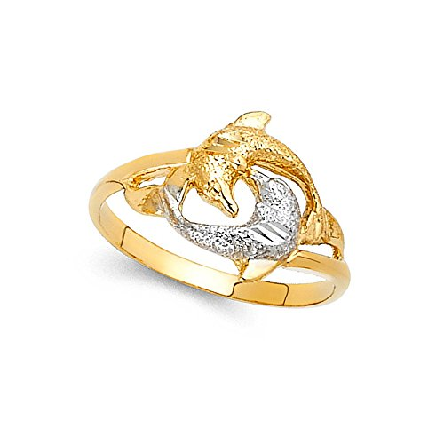 Dolphin Gold White Ring (Two Dolphins Ring 14k Yellow & White Gold Sand Finish Diamond Cut Design Solid Two Tone 12MM Size 9)