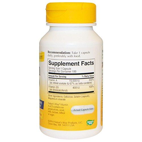 Natures Way Vitamin A and D 15,000 IU/ 400 IU 100 Capsules