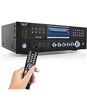 Pyle 4 Channel Wireless Bluetooth Amplifier - 3000 Watt Stereo Speaker Home Audio Receiver w/FM Radio, USB, 2 Microphone w/Echo for Karaoke, Front Loading CD DVD Player, LED, Rack Mount - PD3000BA