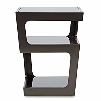 Baxton Studio Clara Modern End Table with 3-Tiered Glass Shelves, Black