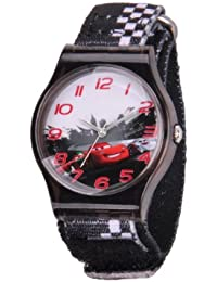 Kids' W001200 Tween Cars plastic, printed stretch nylon strap watch