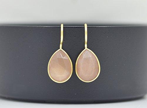 - Teardrop Peach Moonstone Earrings Gold, Pear Shape Peach Moonstone Earrings Silver, Peach Gemstone Earrings