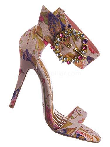 Satin Rhinestone Buckle - Anne Michelle Colorful Satin High Heel Dress Sandal w Rhinestone Crystal Buckle Blush Beige