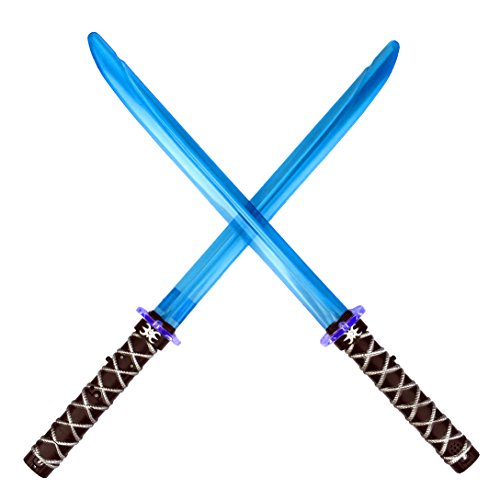 Ninja Sword Toy Light-Up (LED) Deluxe with Clanging Sounds - Blue (2 Pack) (Warrior Girl Costume)