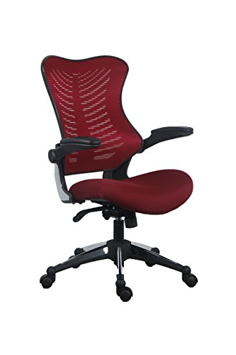 OFFICE FACTOR Burgundy Office Chair, Ergonomic, Lumbar Support, Adjustable Executive & Task Chair for Office/Conference Room. Thick Seat & Raisable Arm Rest Mesh Back Office Chair – 250 Lbs Rated