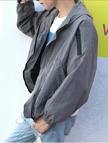 Punk Coats Up Men's Zip Pockets Plus Grey Casual Size Hoodie Mogogo Rock vTwx87qw